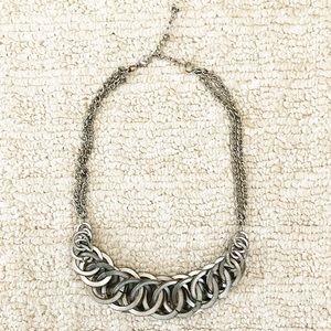 Vintage silver circle loop collar necklace